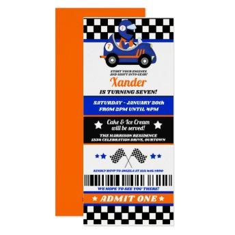 Race Car Ticket Style Birthday Party