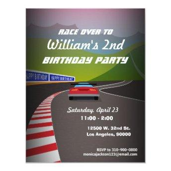 Race Track Race Car Kids Birthday Party Invitation