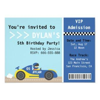 Racing Car, Birthday Party, Boys Admission Ticket