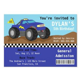Racing Monster Truck Party, Blue Admission Ticket