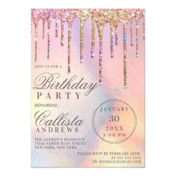Rainbow Holographic Glitter Drips Birthday Invitation
