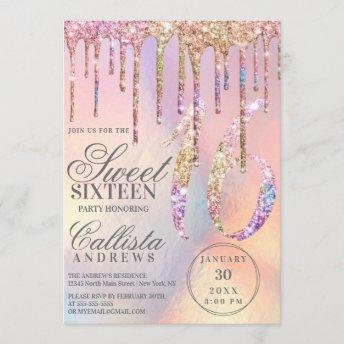 Rainbow Holographic Glitter Drips Sweet 16 Invitation