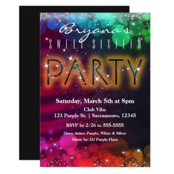 Rainbow Lights Sparkle Dance Club Party Invitation
