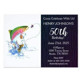 Rainbow Trout Fishing Themed 50th Birthday Invitation