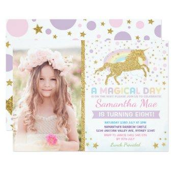 Rainbow Unicorn Birthday Invitation Confetti Stars