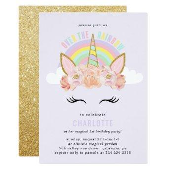 Rainbow Unicorn Birthday  Pink Gold