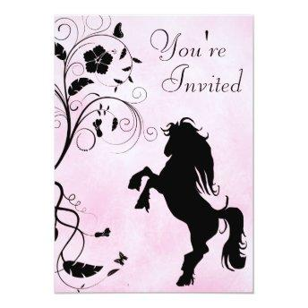 Rearing Horse and Flowers Pink Birthday