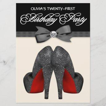 Red and Black Bow Tie Womans Birthday Party Invitation