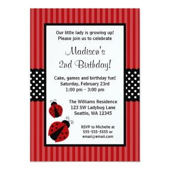 Red and Black Ladybug Striped Dots Birthday Party