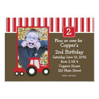 Red and White tractor Birthday