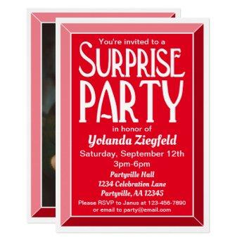 Red Art Deco Photo Birthday Surprise Party Invitation