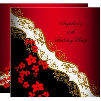 Red Asian Black White Floral Gold Birthday Party