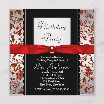 Red & Black Bow Tie Damask Birthday Party Invitation