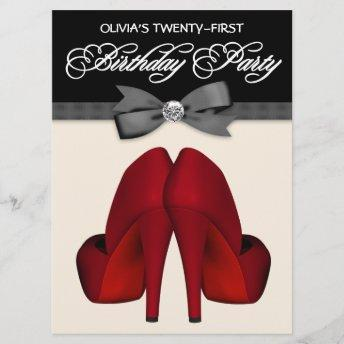 Red Black Bow Tie Womans Birthday Party Invitation