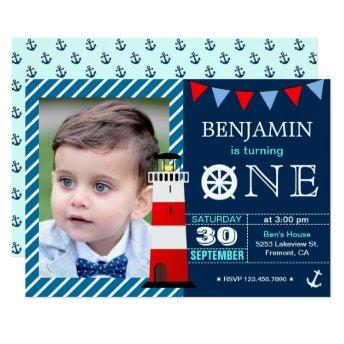 Red Blue Nautical Baby Boy 1st Birthday Party Invitation