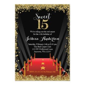 Red Carpet Hollywood Glitter Sweet 15 Quinceanera