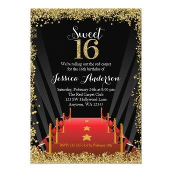 Red Carpet Hollywood Glitter Sweet 16 Birthday Invitation