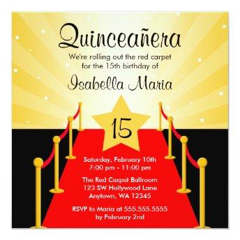Red Carpet Hollywood Quinceanera Birthday Party