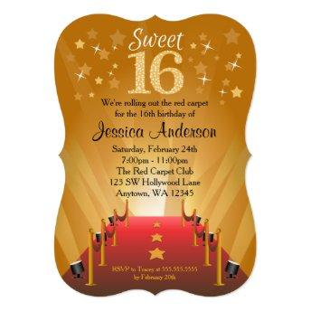 Red Carpet Hollywood Star Sweet 16 Birthday Invitation