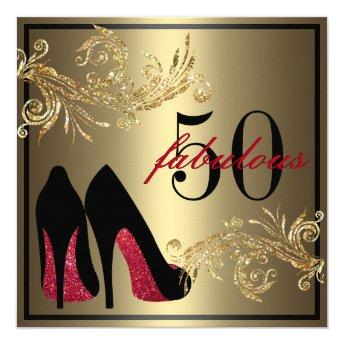 Red Dancing Shoes - Fabulous 50th Birthday Invitation