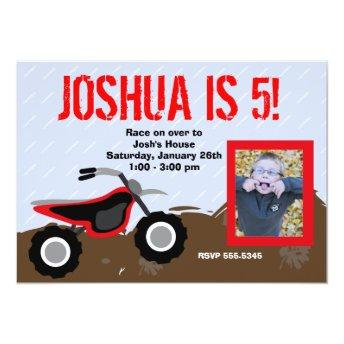 Red Dirt Bike Birthday Invitation