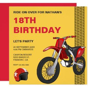 Red Dirt Bike Motocross Birthday Party Invitation
