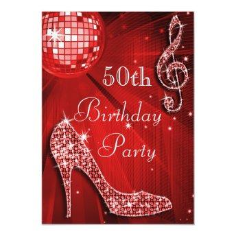 Red Disco Ball and Sparkle Heels 50th Birthday Invitation