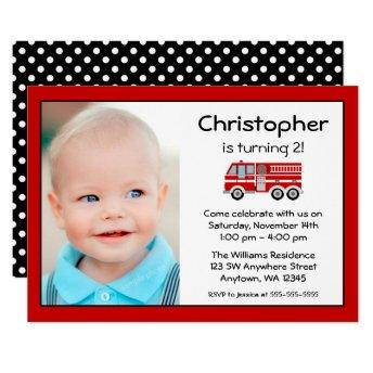 Red Fire Engine Birthday Party Photo Invitation