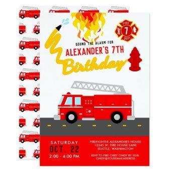 Red Fire Truck Party Theme Firefighter Birthday Invitation