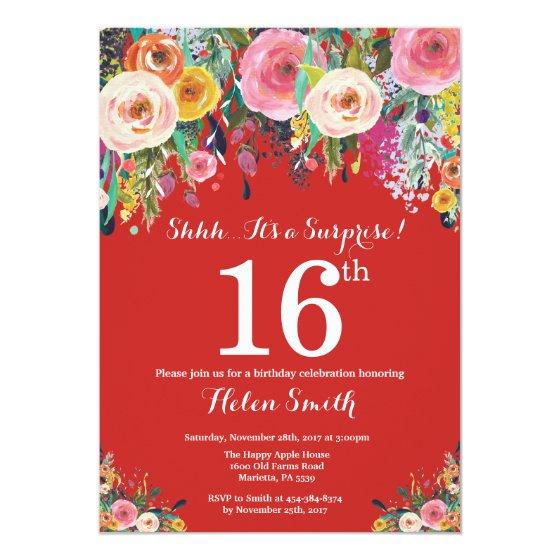 190 Red Floral Surprise 16th Birthday Invitation