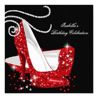 Red Glitter High Heels Black Birthday Party