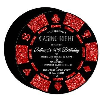 Red Glitter Poker Chip Casino Night Party Invitation