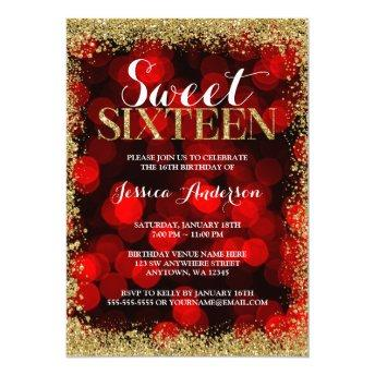 Red Gold Faux Glitter Lights Sweet 16 Birthday Invitation
