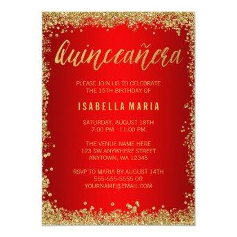 Red Gold Faux Glitter Quinceanera 15th Birthday