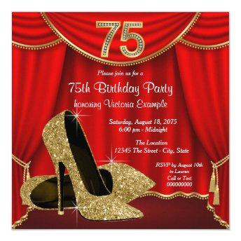 Red Gold High Heel 75th Birthday Party Invitation