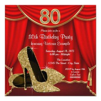 Red Gold High Heel 80th Birthday Party Invitation