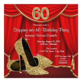 Red Gold High Heel Stepping into 60 Birthday Party