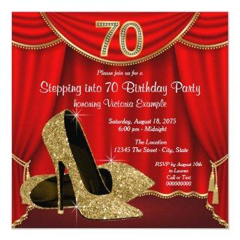Red Gold High Heel Stepping into 70 Birthday Party