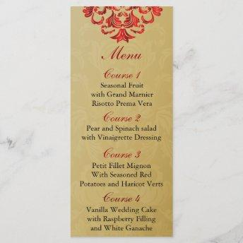 red gold Wedding menu