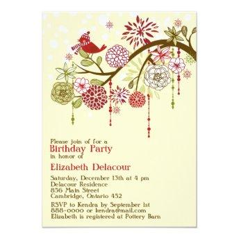 Red Holiday Whimsical Winter Birthday Invitation