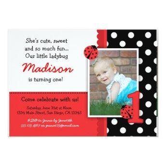 Red ladybug 1st Birthday Invitation