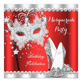 Red Masquerade Mask Hi Heels Birthday Party