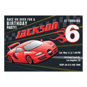 Red Racecar Racing Birthday Party Invitation