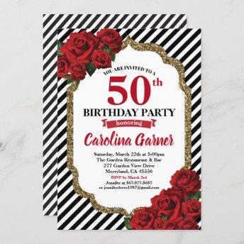 Red rose 50th birthday invitation for women