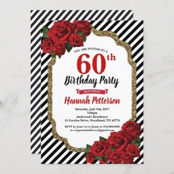 Red rose 60th birthday party invitation woman