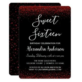 Red Rose Petal Sweet Sixteen Birthday Invitation