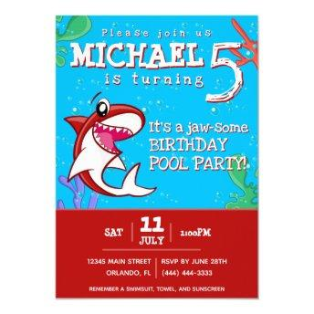 Red Shark Cute Kids Birthday Pool Party Invitation