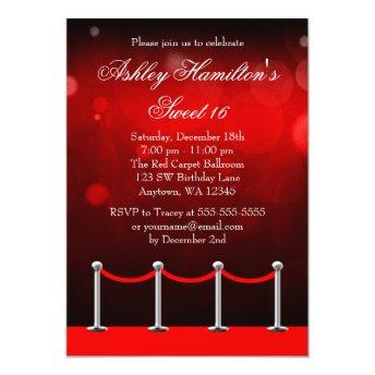 Red Silver Carpet Hollywood Sweet 16 Birthday Invitation