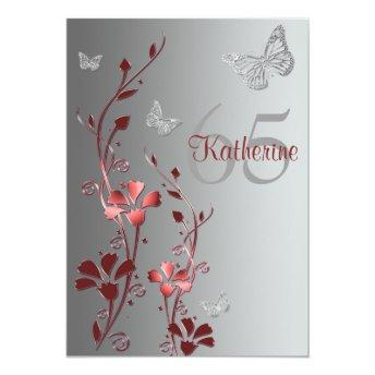 Red, Silver Flowers & Butterflies 65th
