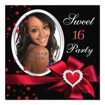 Red Sweet 16 Birthday Party Heart Photo Silver